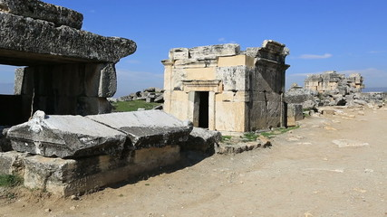 3rd century BC Ancient Hierapolis City at Turkey (Stone Tomb)