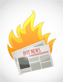 hot news. newspaper on fire illustration design