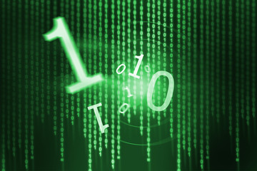 Flying digits over green background with binary code
