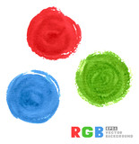 RGB vector watercolor paint circles.