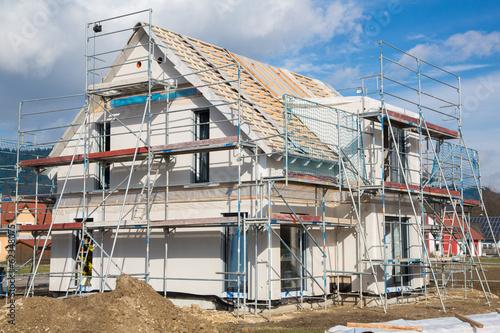 canvas print picture Baustelle: Neubau eines Einfamilienhauses