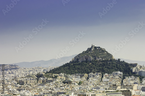 Athens city and close view of the monastery