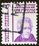Stamp printed in USA shows Portrait President Andrew Jackson