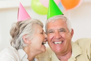 Senior couple celebrating a birthday together