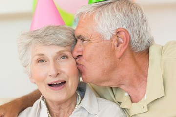 Senior couple celebrating a birthday together