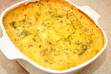 Au Gratin Potatoes in a Casserole Dish