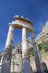 The Athena Sanctuary in ancient Delphi in Greece.