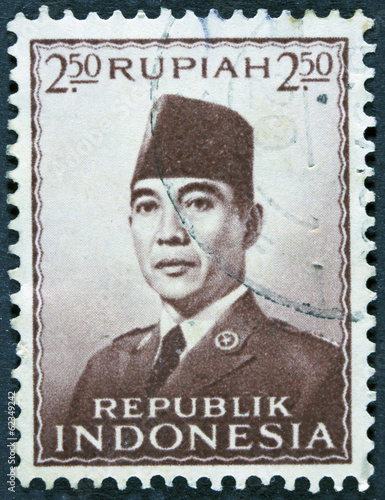Stamp printed in Indonesia shows an image of Suharto
