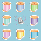 Needle and Threads, White Stickers, Thimble, Pastel Colors