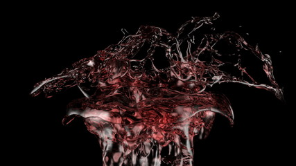 red liquid splash in extreme slow motion, alpha included