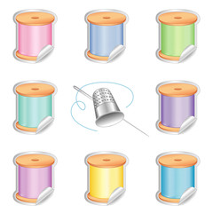 Needle and Threads, Shaded Stickers, Thimble, Pastel Colors