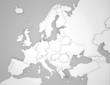 canvas print picture - Europakarte mit 3D Ländergrenzen in grau / weiß