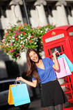 London shopping woman - happy shopper with bags
