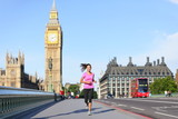 London lifestyle woman running near Big Ben