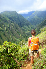 Hiking woman on Hawaii, Waihee ridge trail, Maui