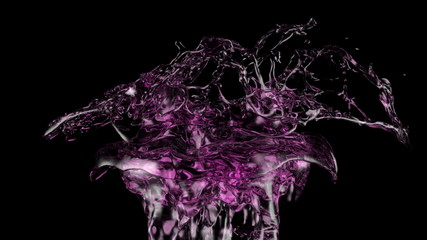 splash of pink liquid in extreme slow motion (FULL HD)
