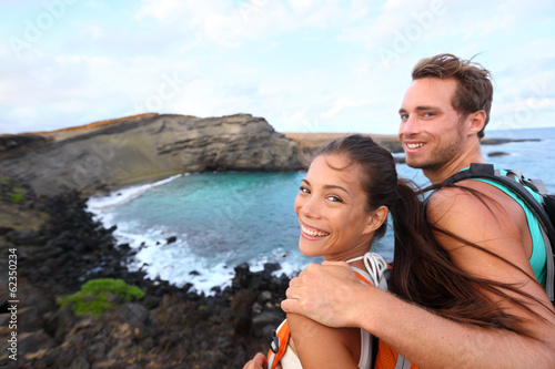 Hiking - travel couple tourist on Hawaii hike
