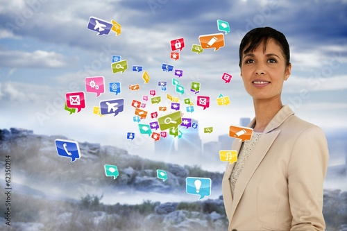 Businesswoman with app icons