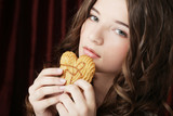 beauty girl with cookie