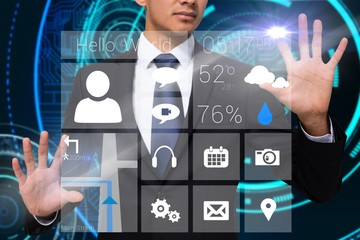 Businessman touching app interface