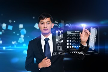 Businessman touching security interface
