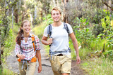 Outdoor activity couple hiking - happy hikers
