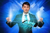 Serious businessman touching data interface