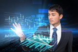 Asian businessman touching data interface