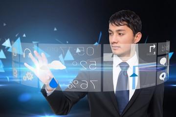 Asian businessman touching app menu