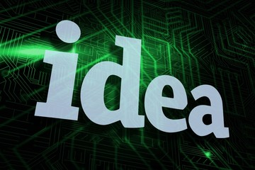 Idea against green and black circuit board