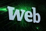 Web against green and black circuit board