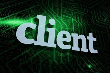 Client against green and black circuit board