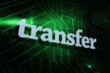 Transfer against green and black circuit board