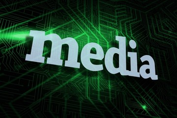 Media against green and black circuit board