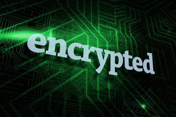 Encrypted against green and black circuit board