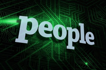 People against green and black circuit board