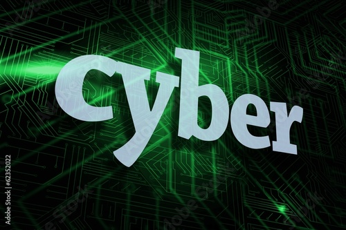 Cyber against green and black circuit board