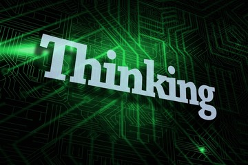 Thinking against green and black circuit board