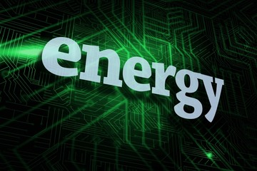 Energy against green and black circuit board