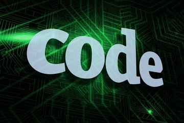 Code against green and black circuit board