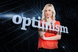 Optimism against futuristic black and blue background