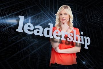 Leadership against futuristic black and blue background
