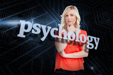 Psychology against futuristic black and blue background