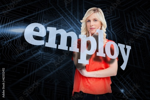 Employ against futuristic black and blue background