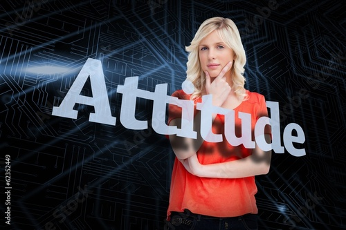 Attitude against futuristic black and blue background