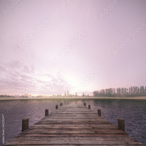 canvas print picture Morgens am See