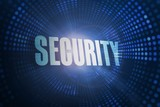 Security against futuristic dotted blue and black background