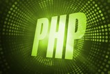 Php against green pixel spiral