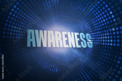 Awareness against futuristic dotted blue and black background