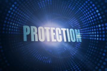 Protection against futuristic dotted blue and black background